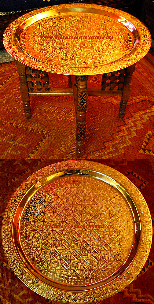 Moroccan 30 1/2 Brass & Wood Table